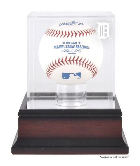 Detroit Tigers Mahogany Baseball Logo Display Case