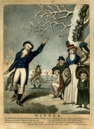 A man skating, holding a cane and waving with the other arm to greet  two ladies, who stand with muffs on the right, while a man beside them kneels to fasten his skates; a little girl and another man among the spectators and other skaters in the background.  1796  Hand-coloured mezzotint with some etching: