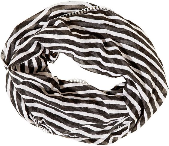 Sketchy Stripe Chain Edge Infinity Scarf