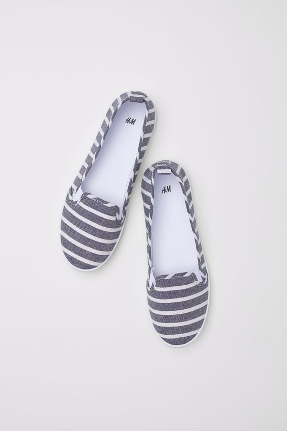 Slip-on Shoes | Denim blue/striped | WOMEN | H&M US
