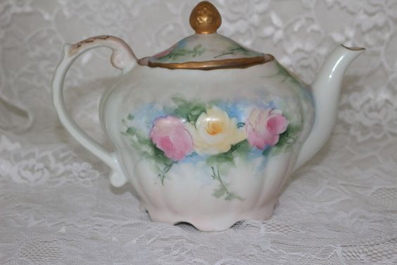 Musical Porcelain Tea Pot Vintage 1950s Hand Painted Roses Gold Trim Tea For Two Romantic Pastel Floral Shabby Cottage Chic Table Decor by TresorsEnchantes on Etsy