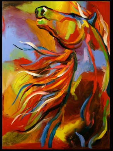 'Call of the Wild Mustang' Equine Horse Art Oil Daily Painting by Texas Artist Laurie Pace, painting by artist Laurie Justus Pace