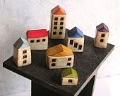 Christmas gift  ... LOVE...Four handmade polymer clay houses ... Word Houses ... little neighborhood. $42.00, via Etsy.