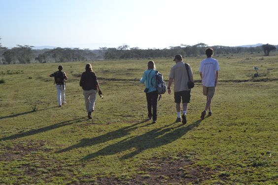 Setting off for an early morning walk in the Green Crater Lake Sanctuary near Lake Naivasha