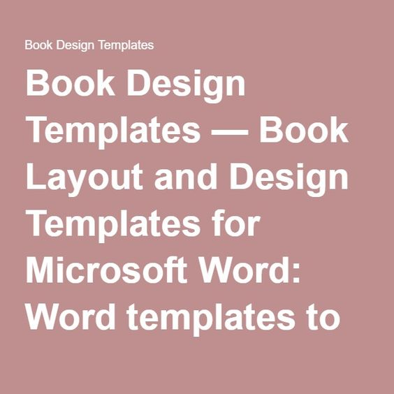 Book Design Templates u2014 Book Layout and Design Templates for - booklet template microsoft word