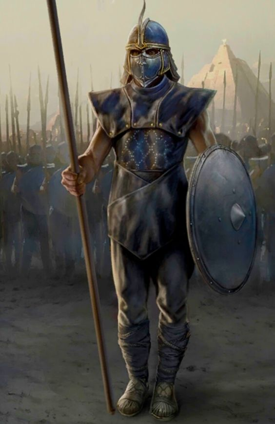 Desert Warrior with a Spear and Shield