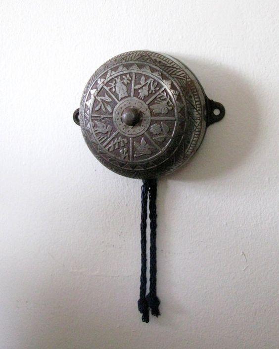 Antique Cast Iron Doorbell  Pull Chain Doorbell  Antique Restoration  Hardware  doorbells. Antique Cast Iron Doorbell  Pull Chain Doorbell  Antique