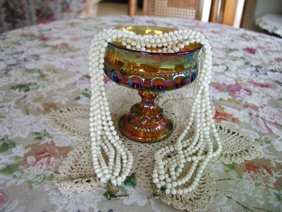 Vintage 1950s White 8 strand beaded necklace  10 by BESTBUYONLINES, $10.00