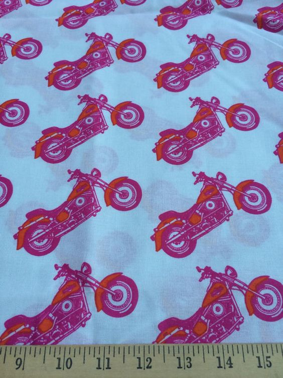 Pink/Orange on White Harley motorcycle girly 100% cotton quilting ... : motorcycle quilting fabric - Adamdwight.com