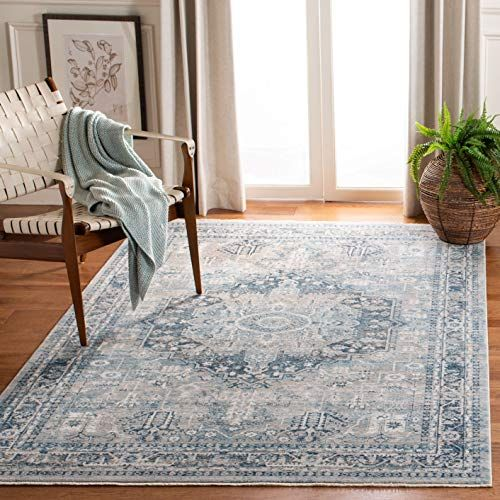 Safavieh Victoria Collection Vic932f Blue And Grey Area 9 X 12 Rug In 2020 Blue Grey Rug Blue Oriental Rug Oriental Rug