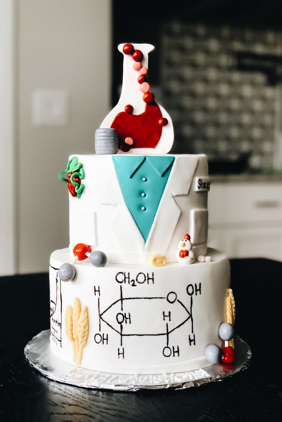 Food Science Cake Decor Ideas. Fermentation cake. Glucose molecule cake. Isotherm cake. Science graduation and birthday cake ideas. Agricultural Science Cake decor. Food Chemistry cake decor. Erlenmeyer flask cake ideas. Wheat stalk cake. Water molecule and chemical structure cake ideas. Lab coat cake for scientist. Cake ides for scientist. Science cake ideas. Baker science cakes. #FoodScience #Cake #ideas #science #graduation