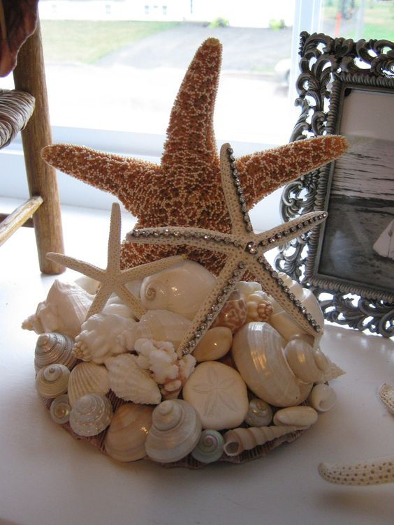Cake Topper with removable rhinestone starfish - Beach Themed Wedding. $64.00, via Etsy.