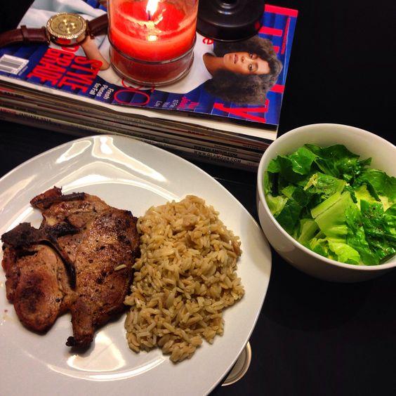 Pork Chops, Rice a Roni w/ side Salad