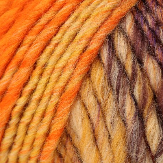 Stunning variegated super bulky yarn, Lana Grossa Olympia blends colors together on giant 8-10mm needles for super bulky accessories, jackets, waistcoats and gilets - a fabulous fun yarn to knit with in glorious colorways! Let the yarn do the work and your friends will gasp at the results!