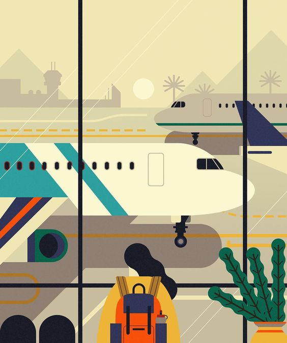 Created for NYU about the opportunities to travel as a student #travel #plane #illustration #ny #newyork #education #airport