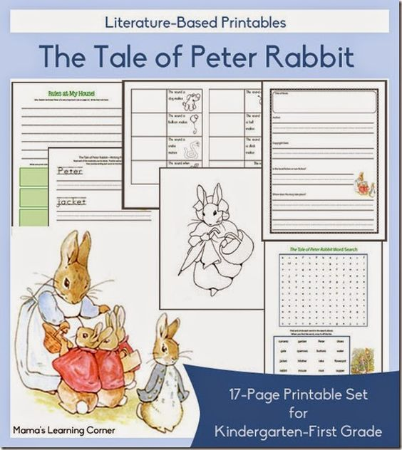 FREE Tale of Peter Rabbit Worksheets for Kindergarten and 1st – Homeschool Worksheets for Kindergarten