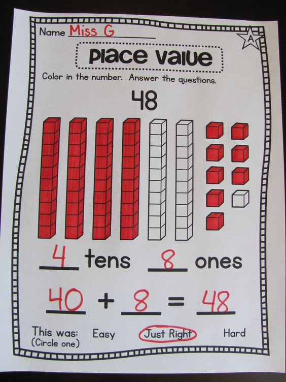 Place Values Place Value Worksheets And First Grade Math