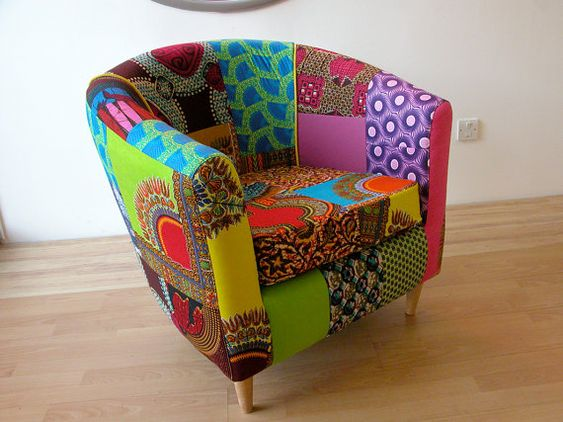 Iconic tub chair with African patchwork fabrics! COOL!