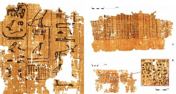 """Left: Part of a papyrus inscribed with an account dating to the reign of Khufu (13th cattle count). (G. Pollin)  Right: Account on a papyrus (A) and a detail of one page of inspector Merer's """"diary"""" (B), mentioning the """"Horizon of Khufu."""" (G. Pollin)"""