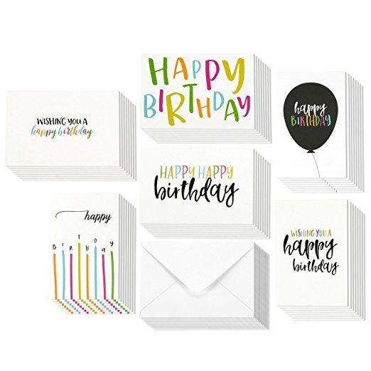 48 Pack Happy Birthday Greeting Cards 6 Handwritten Modern Style Colorful Designs Bulk Box Set Va Happy Birthday Cards Birthday Cards Birthday Greeting Cards
