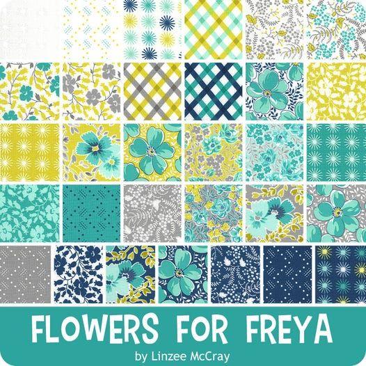 Moda 100/% cotton fabric 42 Pcs Flowers for Freya Charm Pack 5 Inch Stacker