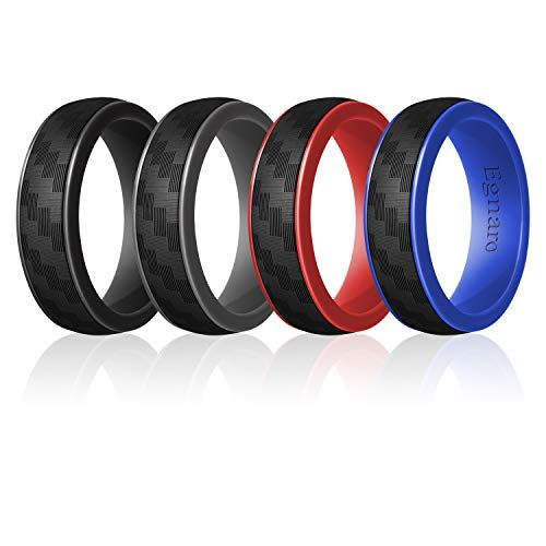 Safe and Comfortable Egnaro Silicone Wedding Ring for Men Detachable Carbon Fiber Pattern Rubber Wedding Bands Size 8 9 10 11 12 13