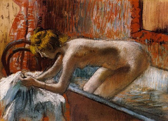 Woman Leaving Her Bath - Edgar Degas 1886: