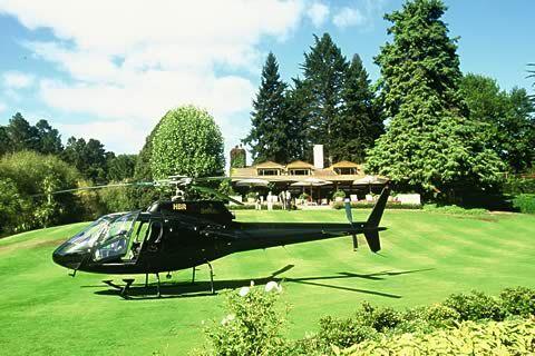 芝生に着陸しているヘリコプター