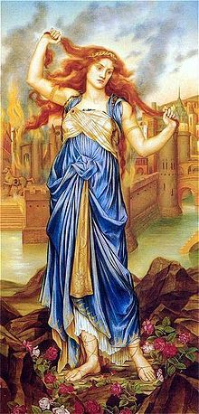 Cassandra (painting by Evelyn De Morgan, 1898), cursed with the gift of prophecy, is depicted at the peak of her insanity as the city of Troy is in flames behind her.