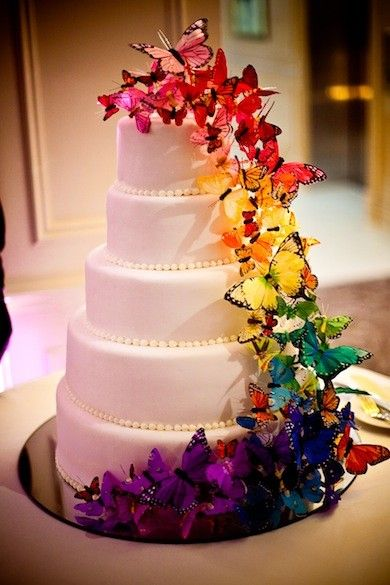 a butterfly cake for any occasion, would be beautiful for a bride following the rainbow trend!