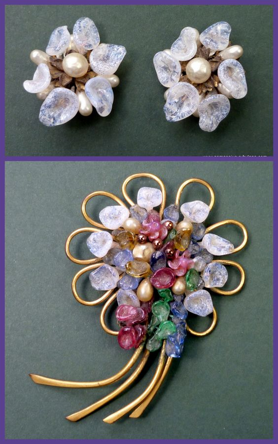 Rousselet Brooch and Earrings