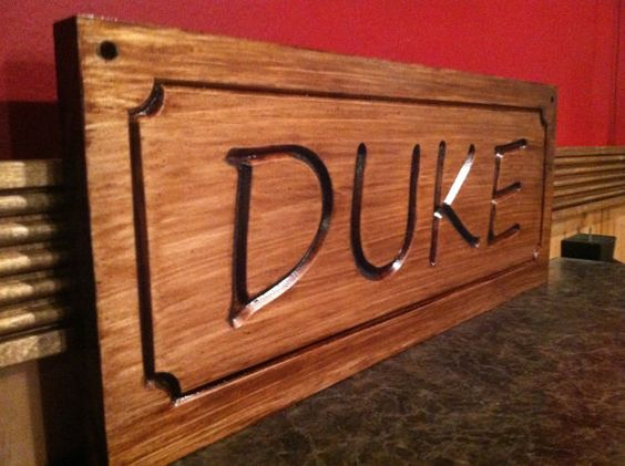 Custom wooden dog sign wood carved horse stall signs h