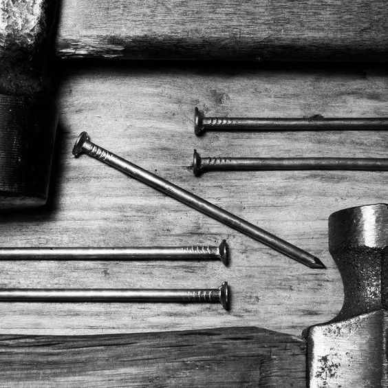 #hammer and #nails #wooden #home #work #metal #equipment #tool #steel #woodwork #industrial #build #bw #Piizzoff de piizzoff