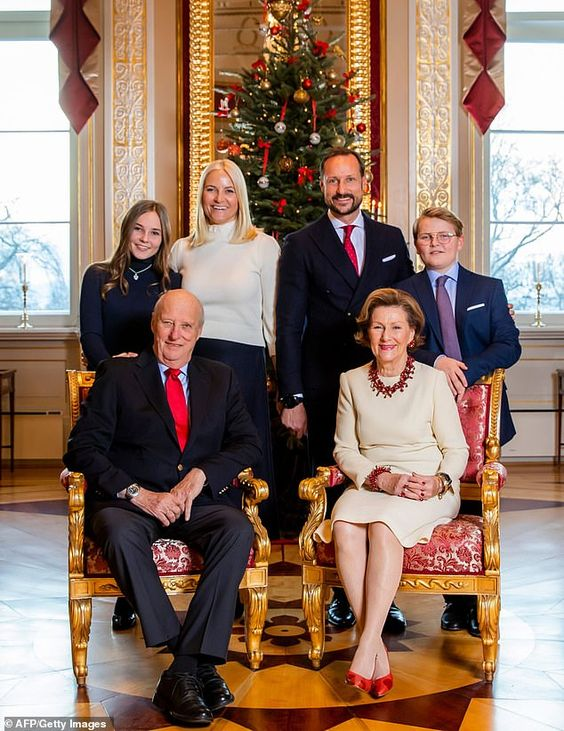The Norwegian royal family has gathered at the royal palace in Oslo to pose for annual Christmas portraits. Back row, l-r: Princess Ingrid Alexandra, Crown Princess Mette-Marit, Crown Prince Haakon and Prince Sverre Magnus. Front row: King Harald V and Queen Sonja