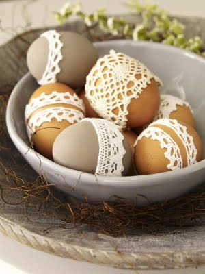 easter eggs doilies
