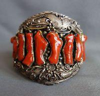Huge E. KEE Native American Navajo Sterling Silver RED CORAL Bracelet;C349