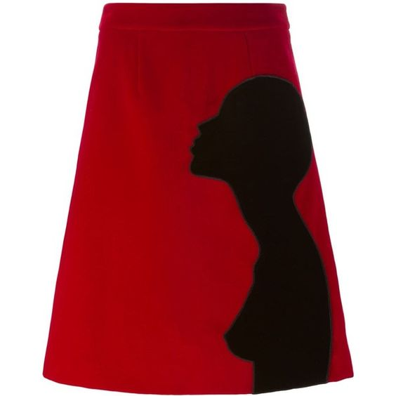 Christopher Kane Silhouette Portrait Skirt ($1,050) ❤ liked on Polyvore featuring skirts, red, christopher kane skirt, a line skirt, red high waisted skirt, christopher kane and red skirt