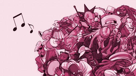 ilustração que mescla vários estilos musicais para Sony Bravia