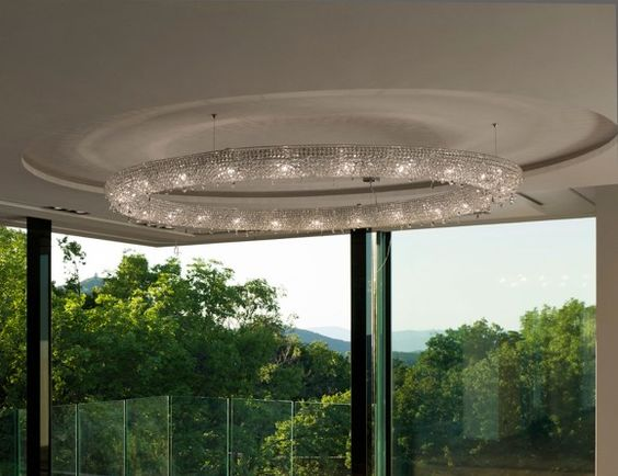 Nella Vetrina Looop 100 Manooi Luxury White Crystal Hanging Light