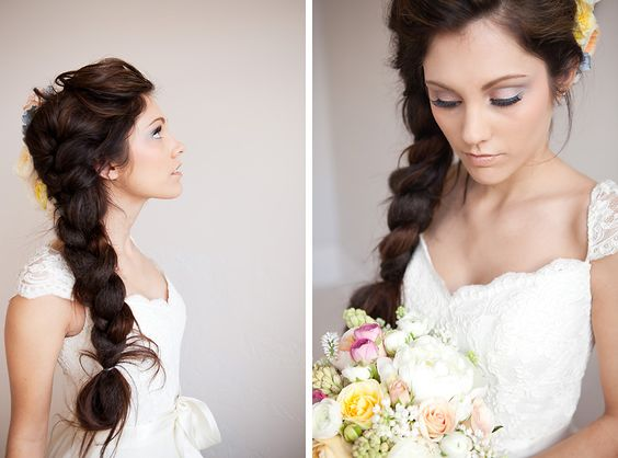THICK french braid with flowers, from wedding shoot on Snippet and Ink, photo by Yan Photo, hair by Versa Artistry (found via Unicycle on Weddingbee)