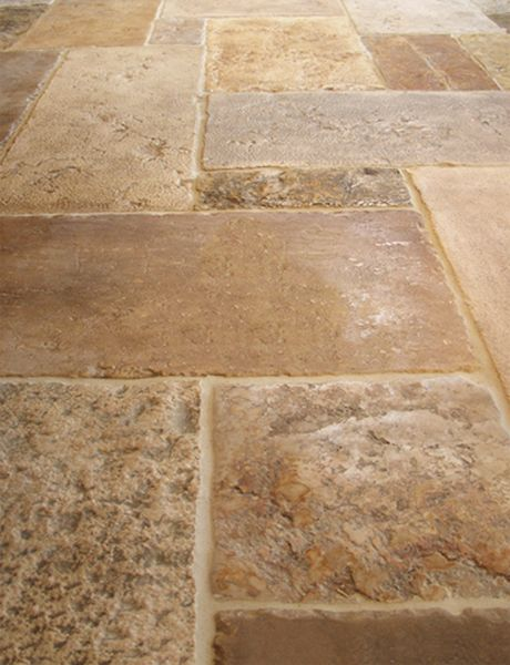 Dalle de Jerusalem, quarried in Israel to match antique stone floors. Hand crafted antiquing techniques. Many patterns and sizes.
