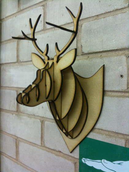 mdf acrylic cardboard deer head taxidermy beautiful cerf et bricolage. Black Bedroom Furniture Sets. Home Design Ideas