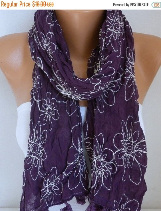 Dark Purple Floral Scarf Teacher Gift Shawl Cotton by fatwoman