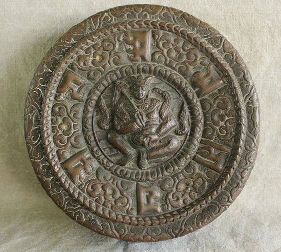 Antique Chinese Deity Buddha/ Hindu Jambhala Lord of Wealth Repousse Copper Treasure