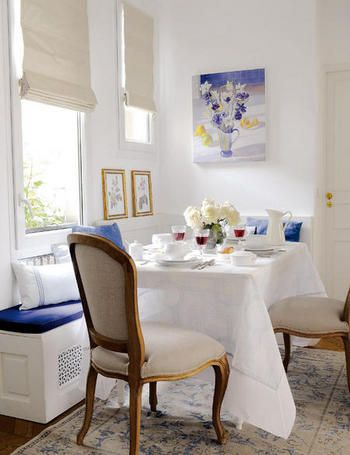 This white and blue space is so inviting...I want to sit right down where I can look at the painting