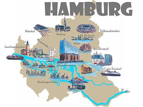 Hamburg Highlights Sehenswurdigkeiten Karte Fotodruck Von Artshop77 Hamburg Poster Online Poster