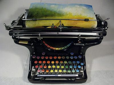 This hacked typewriter types colors instead of letters. It's a piece of art that actually makes art! WOW. Made by Tyree Callahan (hit the link for more pics), found via BoingBoing.