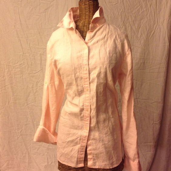 Ralph Lauren Pink Linen blouse RALPH LAUREN WOMENS SZ L 100% LINEN BLOUSE SHIRT TOP PINK Ralph Lauren Tops Blouses
