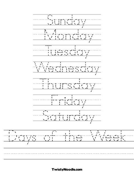 Lots of letter tracing sheets - Days of the Week Worksheet from | Kid ...