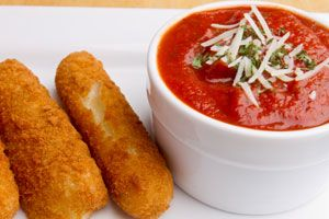 Better-Than-Fried Mozzarella Sticks (Not fried) Dr. Oz had them on his show. 1,200 calories for OLD school fried mozz sticks, and only 450 for 5 mozz sticks Dr oz. style. YUMMM!